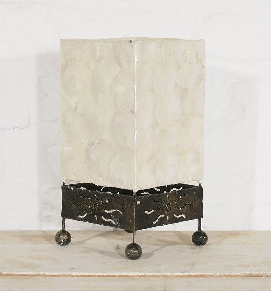 Tischlampe Perlmutt Cube