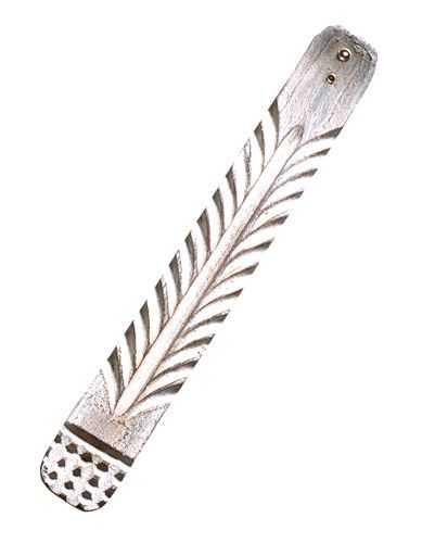 Holzhalter Ornament weiß gewachst