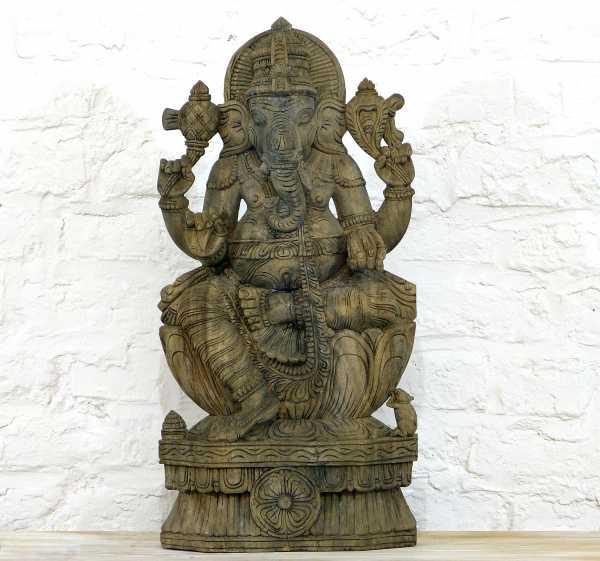 Ganesha Holzskulptur Handgearbeitet