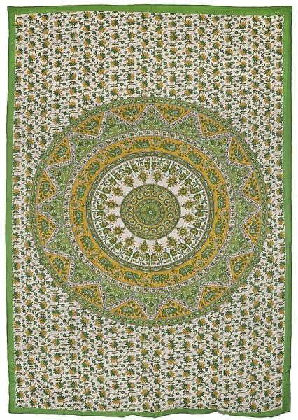"Elefanten Mandala ""Green"" Tagesdecke"