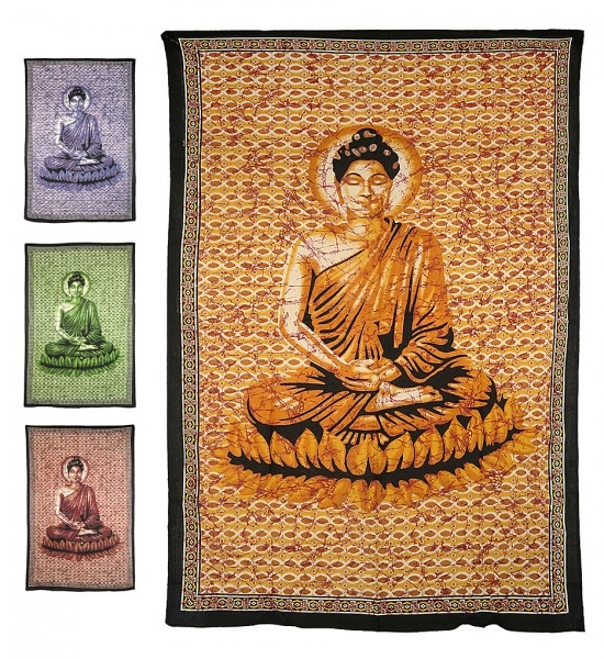 "Motivdecke Batik ""Buddha"""