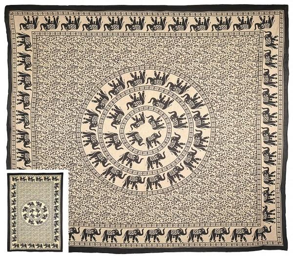 """Tagesdecke Elefanten Mandala """"Ivory"""""""