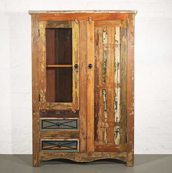 Vitrinen- Küchenschrank Recycle Holz