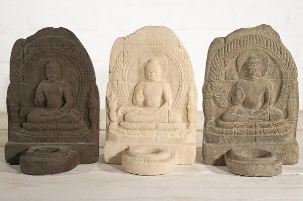 Buddha Candelholder Steinguss