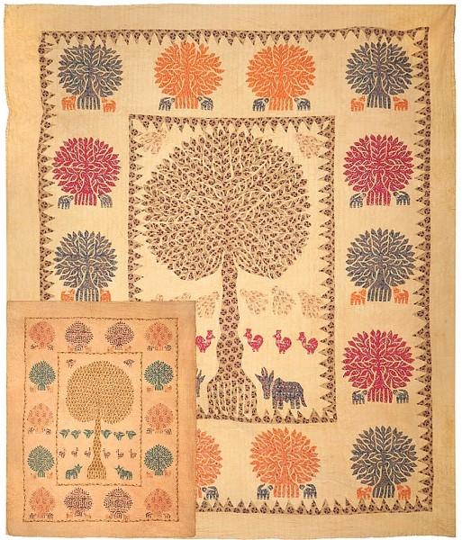 """Wandbehang gesteppt """"Baum"""" Tages-Decke"""