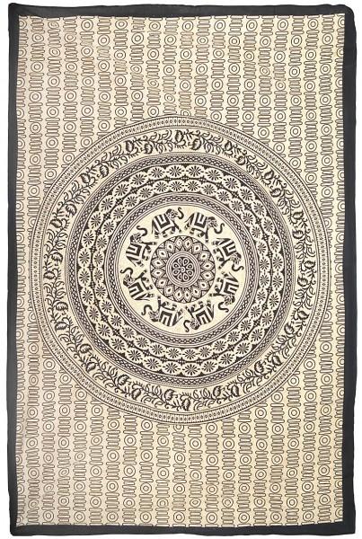 """Elefanten Mandala """"Ivory III"""" Tagesdecke"""